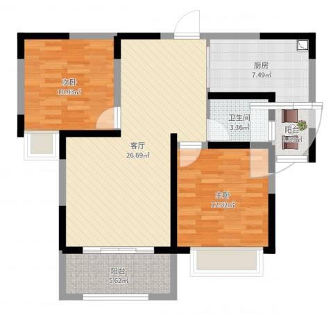 城中花园2室1厅1卫1厨85.00㎡户型图