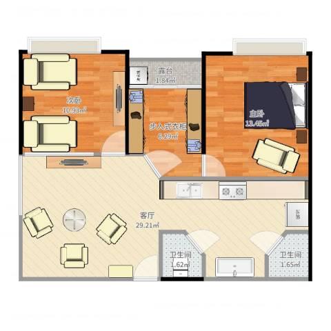 东海阳光2室1厅2卫0厨81.00㎡户型图