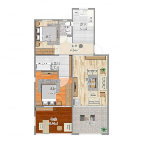二号新村3室2厅2卫1厨82.00㎡户型图