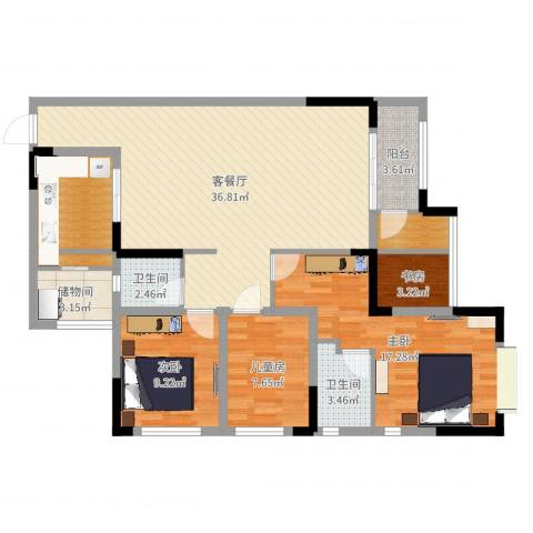 爱加橄榄园4室2厅2卫0厨119.00㎡户型图