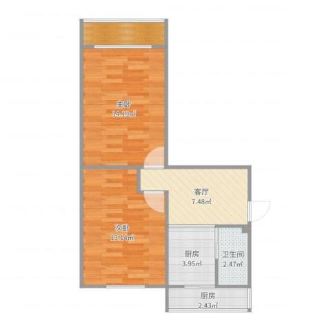 南湖新村2室1厅1卫2厨58.00㎡户型图