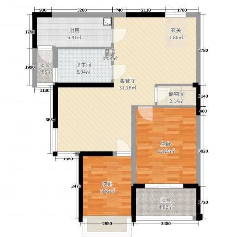 泰恒华府2室2厅1卫1厨91.00㎡户型图