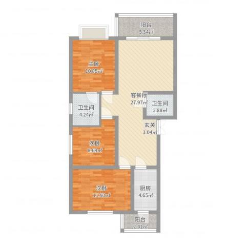 江泉・富力城3室2厅2卫1厨99.00㎡户型图
