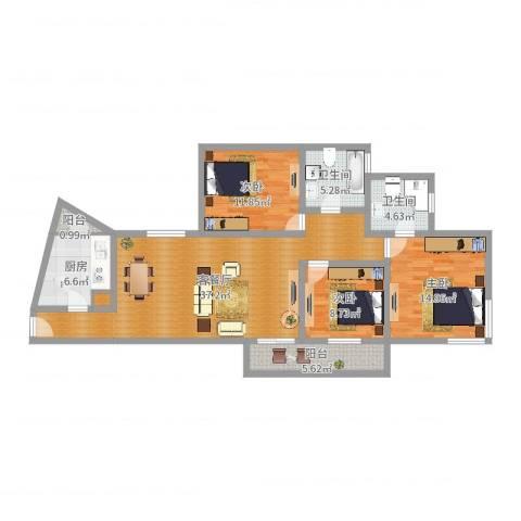 东方曼哈顿尚东区3室2厅2卫1厨120.00㎡户型图