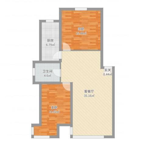 紫龙新城2室2厅1卫1厨95.00㎡户型图