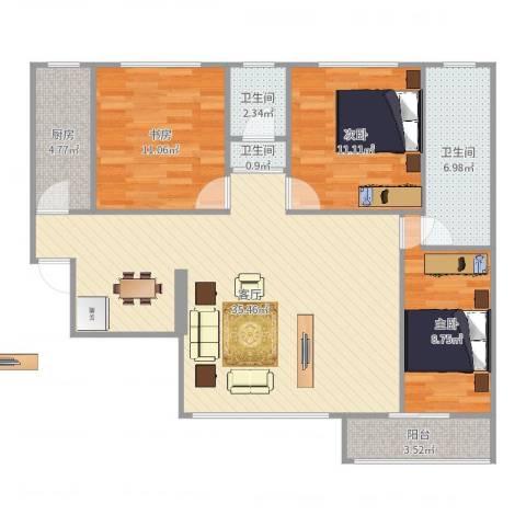 好家园3室1厅3卫1厨106.00㎡户型图