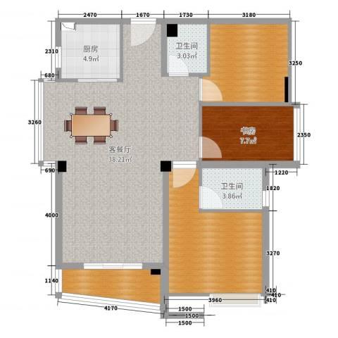 富邦新天地1室2厅2卫1厨107.00㎡户型图
