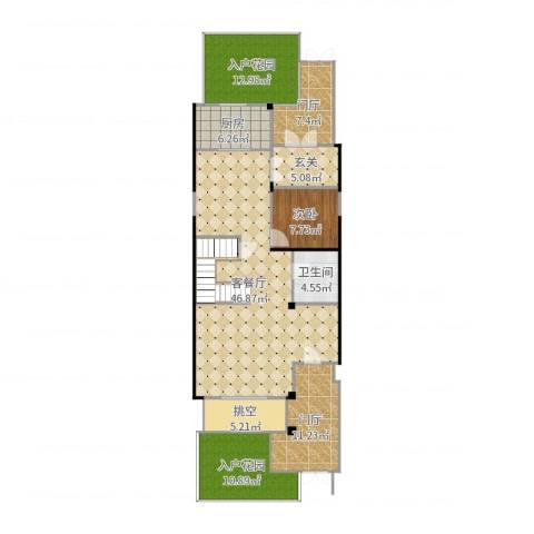 亿城燕西华府-联排-首层1室2厅1卫1厨148.00㎡户型图