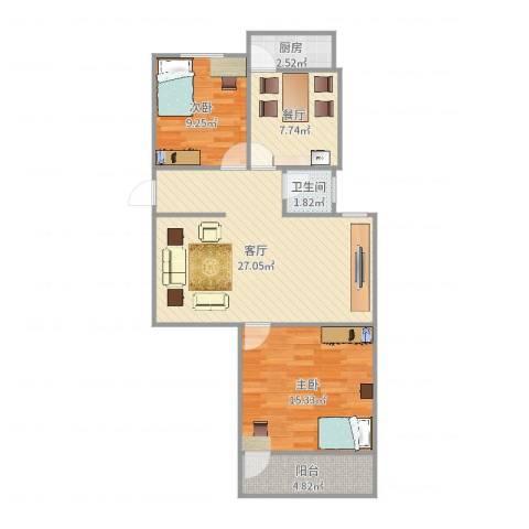 老屯铁路小区2室2厅1卫1厨86.00㎡户型图