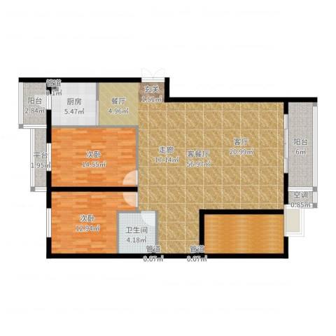 曼哈顿水岸公馆2室2厅1卫1厨144.00㎡户型图