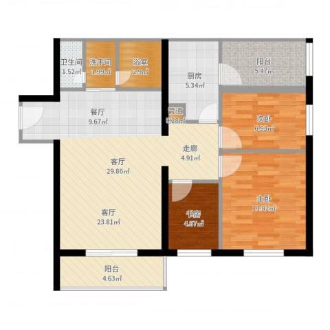 宁乡蓝色港湾3室1厅1卫1厨95.00㎡户型图