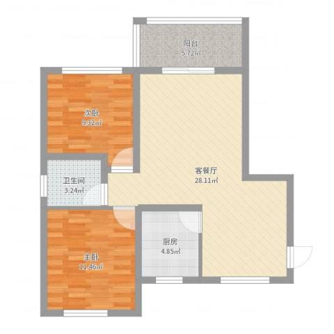 长泰豪园2室2厅1卫1厨78.00㎡户型图