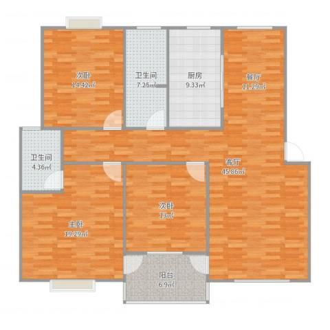丽都时代花园3室1厅2卫1厨150.00㎡户型图