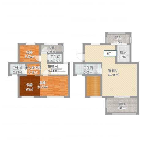中南山海湾2室2厅3卫1厨121.00㎡户型图