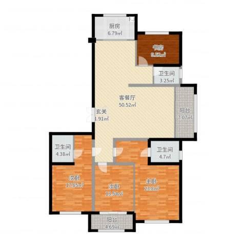 东方星河湾4室2厅3卫1厨183.00㎡户型图