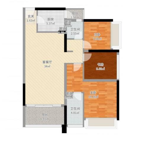 上东国际二期3室2厅2卫1厨109.00㎡户型图