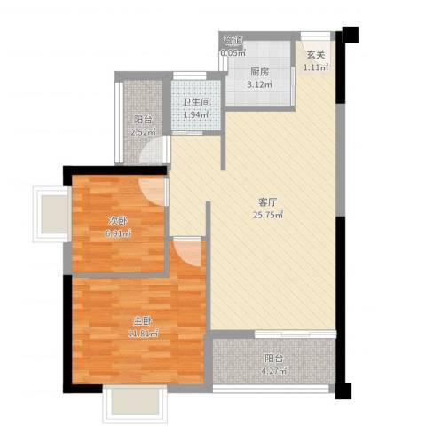 鸿源海景城2室1厅1卫1厨70.00㎡户型图