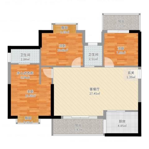 鸿源海景城3室2厅2卫1厨101.00㎡户型图