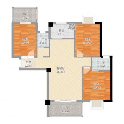 鸿源海景城3室2厅2卫1厨103.00㎡户型图