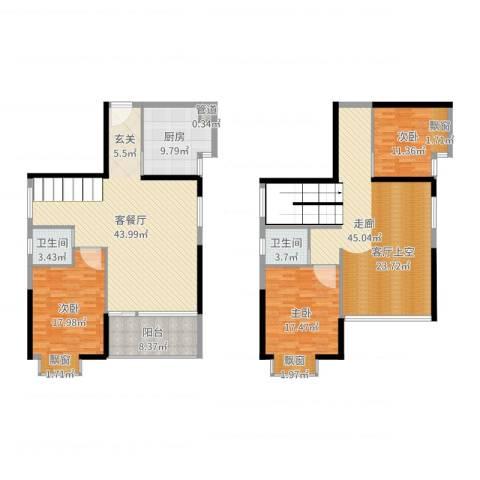 鸿源海景城3室2厅2卫1厨202.00㎡户型图