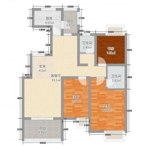 农业厅家属院3室2厅2卫1厨108.00㎡户型图