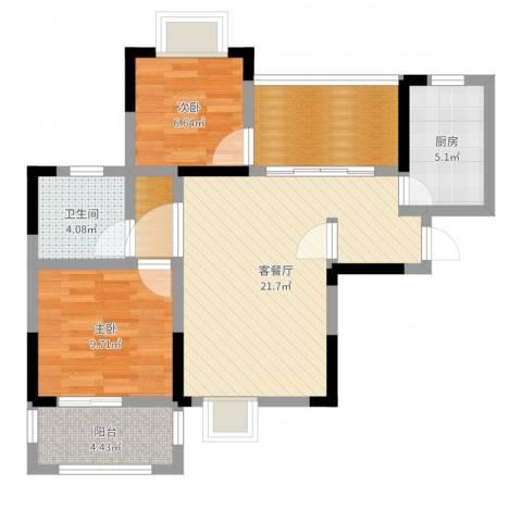凡尔赛公馆2室2厅1卫1厨75.00㎡户型图
