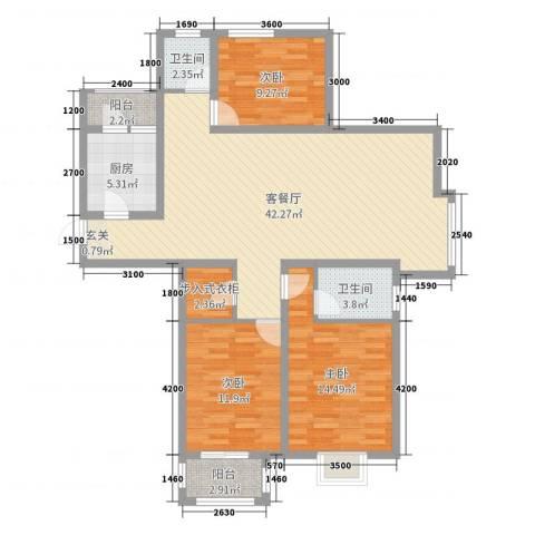 君悦华府3室2厅2卫1厨121.00㎡户型图