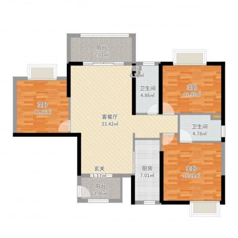 罗定福泰花园3室2厅2卫1厨129.00㎡户型图