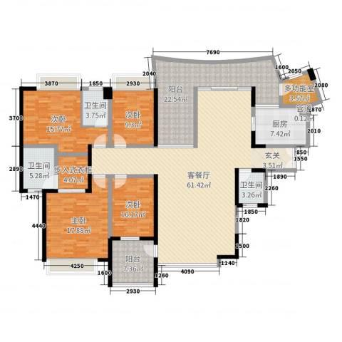 南湖半岛花园4室2厅3卫1厨215.00㎡户型图