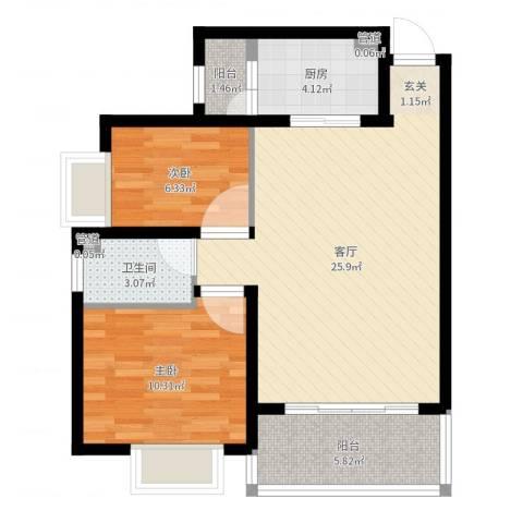 新华大厦2室1厅1卫1厨71.00㎡户型图