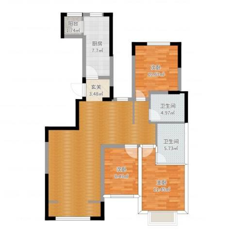 北辰墅院19003室0厅2卫1厨115.00㎡户型图
