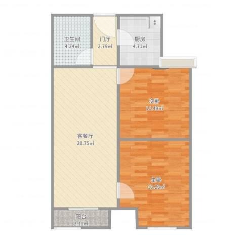 东方家园2室2厅1卫1厨74.00㎡户型图
