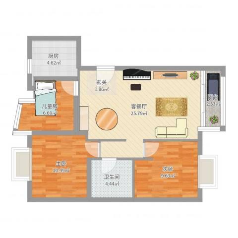 莱圳家园3室2厅1卫1厨80.00㎡户型图