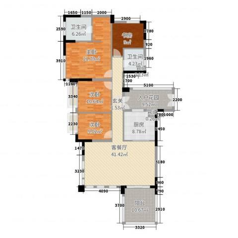 万科松山湖悦4室2厅2卫1厨161.00㎡户型图