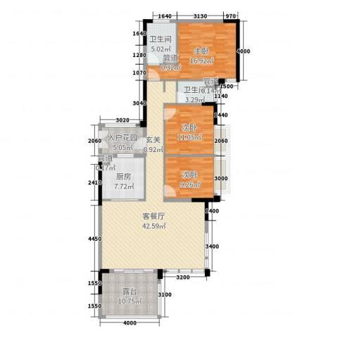 万科松山湖悦3室2厅2卫1厨147.00㎡户型图