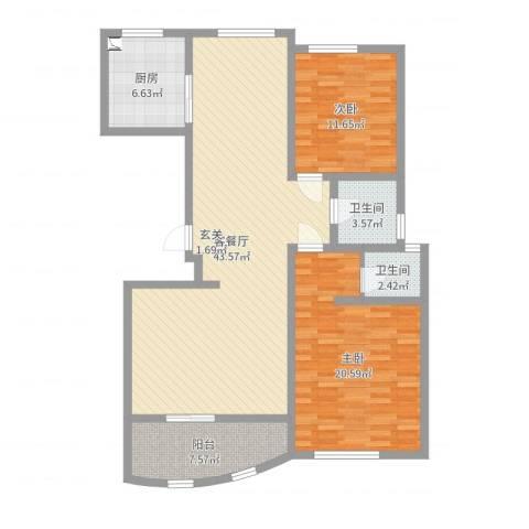 帝景翰园2室2厅2卫1厨120.00㎡户型图
