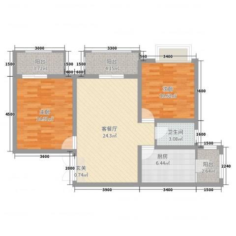 鲁能星城七街区2室2厅1卫1厨87.00㎡户型图