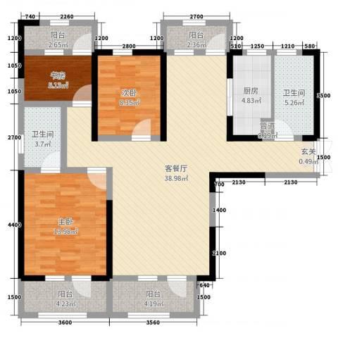 集贤一村小区3室2厅2卫1厨117.00㎡户型图