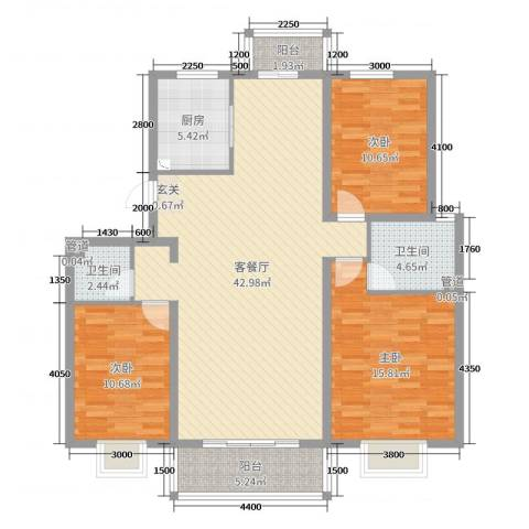 舜江名苑3室2厅2卫1厨125.00㎡户型图