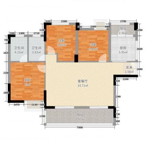 金龙大厦3室2厅2卫1厨115.00㎡户型图