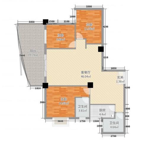 佳天国际新城3室2厅2卫1厨142.00㎡户型图
