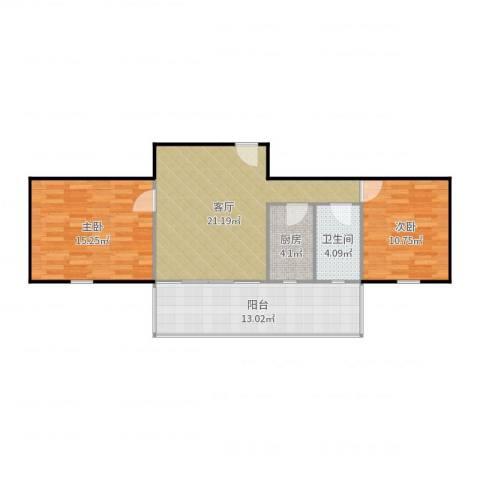 金影花园2室1厅1卫1厨86.00㎡户型图