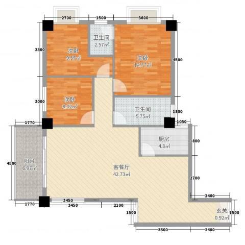 佳天国际新城3室2厅2卫1厨128.00㎡户型图