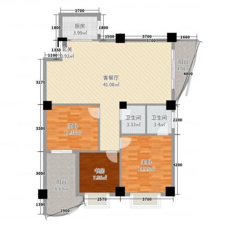 佳天国际新城3室2厅2卫1厨127.00㎡户型图