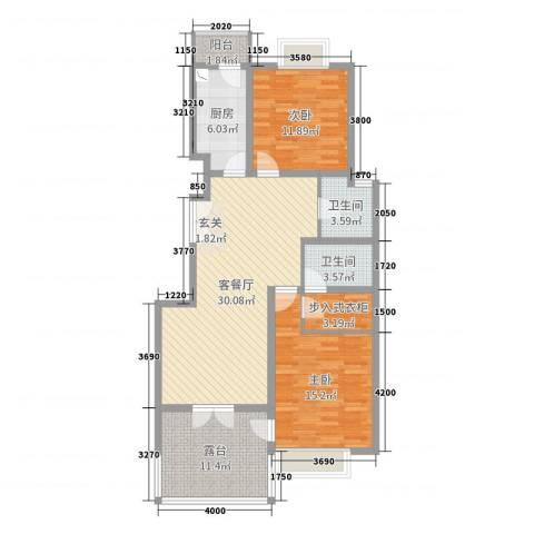 祥和花园2室2厅2卫1厨98.00㎡户型图