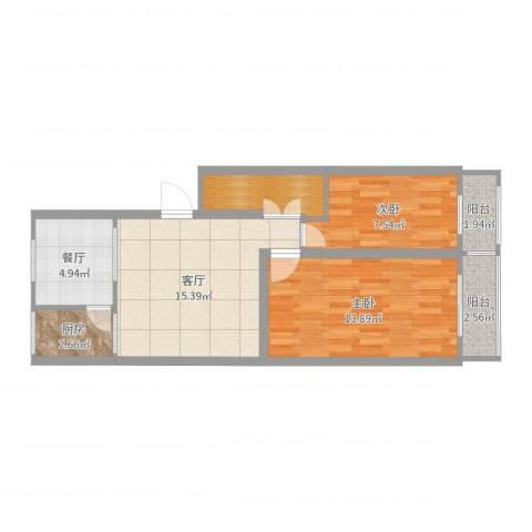 定福庄西里1号院2室2厅0卫1厨65.00㎡户型图