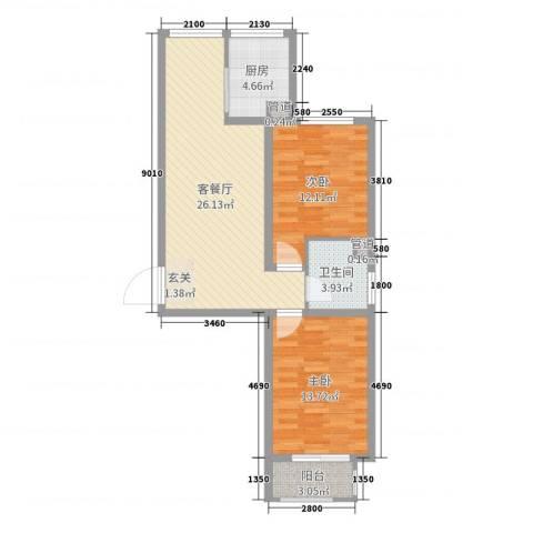 良城逸园2室2厅1卫1厨80.00㎡户型图