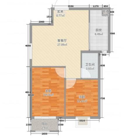 良城逸园2室2厅1卫1厨83.00㎡户型图