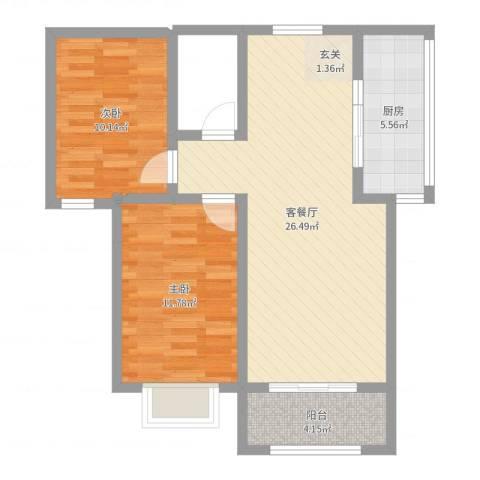 城市西景2室2厅0卫1厨73.00㎡户型图
