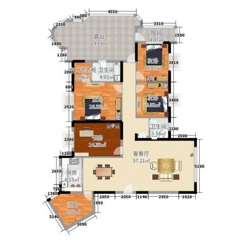 日月星城5室2厅2卫1厨220.00㎡户型图